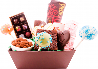 gift basket with gourmet chocolates on a white background
